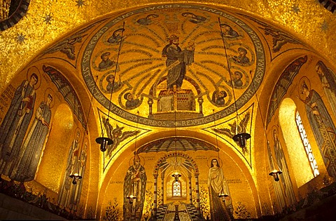 Mosaics in the monastery chapel of Mont Sainte-Odile, Alsace, France, Europe