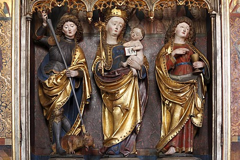 Detail of the altar of Our Lady, evangelical Parish Church of Langenzenn, Middle Franconia, Franconia, Bavaria, Germany, Europe