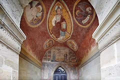 Frescoes on the main entrance portal of the collegiate church, Feuchtwangen, Romantic Road, Middle Franconia, Franconia, Bavaria, Germany, Europe