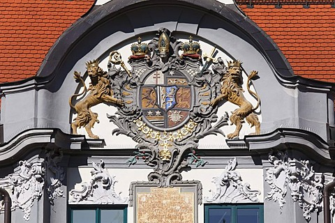 Coat of arms over the east portal, Fuerstbischoefliche Residenz prince-bishop's residence, Augsburg, Schwaben, Bavaria, Germany, Europe
