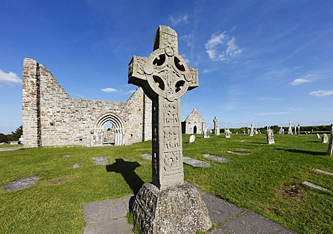 Copy of Cross of the Scriptures, a high cross in Clonmacnoise Monastery, County Offaly, Leinster, Republic of Ireland, Europe
