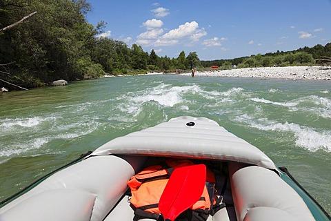 Rafting on the Isar River, Wolfratshausen, Upper Bavaria, Bavaria, Germany, Europe