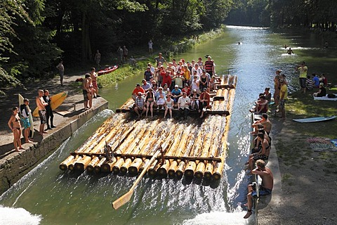Isar-raft on the Isar Flosskanal canal, Thalkirchen, Munich, Upper Bavaria, Bavaria, Germany, Europe