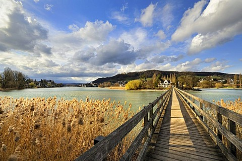 Wooden bridge to the Werd monastery island in Stein am Rhein, Eschenz, Canton Thurgau, Switzerland, Europe