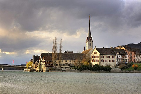The old town of Stein am Rhein in the evening light, Canton Schaffhausen, Switzerland, Europe
