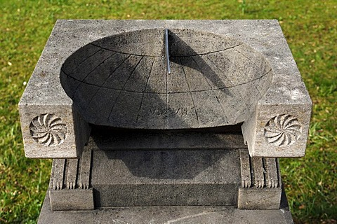 "Replica of an ancient Roman sundial called ""Scaphe"", dated around 75 AD, at the park of Badenweiler, Baden-Wuerttemberg, Germany, Europe"