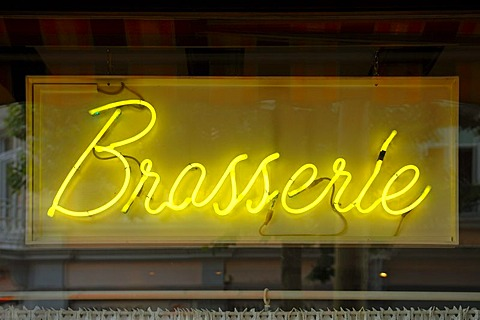 Brasserie, yellow neon sign, Rue de L'Enceinte, Colmar, Alsace, France, Europe