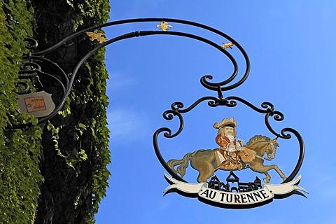 Sign of Au Turenne restaurant, 14 rue Grenouillere, Turckheim, Alsace, France, Europe