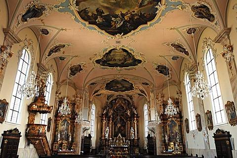 Interior of the Catholic Baroque church of St. Martin, Kirchstrasse, Riegel am Kaiserstuhl, Baden-Wuerttemberg, Germany, Europe