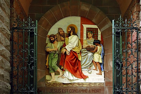 First relief, Stations of the Cross to Dusenbach monastery, Jesus receiving death sentence, Ribeauville, Alsace, France, Europe