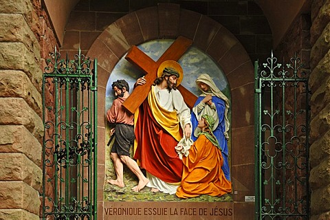 Sixth relief, Stations of the Cross to Dusenbach monastery, Veronica passing a damp cloth to Jesus, Ribeauville, Alsace, France, Europe