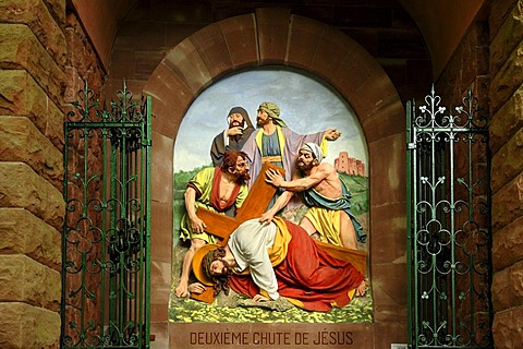 Seventh relief, Stations of the Cross to Dusenbach monastery, Jesus falling for a second time under the weight of the cross, Ribeauville, Alsace, France, Europe