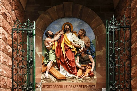 Tenth relief, Stations of the Cross to Dusenbach monastery, men undressing Jesus, Ribeauville, Alsace, France, Europe