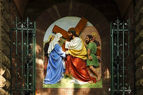 Forth relief, Stations of the Cross to Dusenbach monastery, Jesus meeting his mother, Ribeauville, Alsace, France, Europe