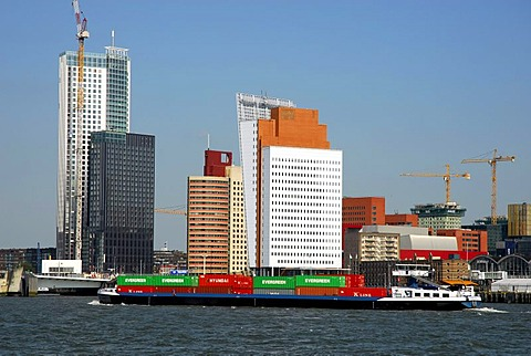 Container Transport on the Nieuwe Maas River, modern architecture at the Wilhelminapier at back, Rotterdam, Zuid-Holland, South-Holland, Netherlands, Europe