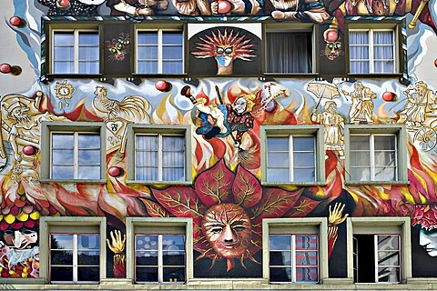 Artistic painted faÁade in Lucerne, Switzerland, Europe
