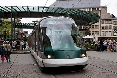 Modern city tram in Strasbourg, Alsace, France, Europe