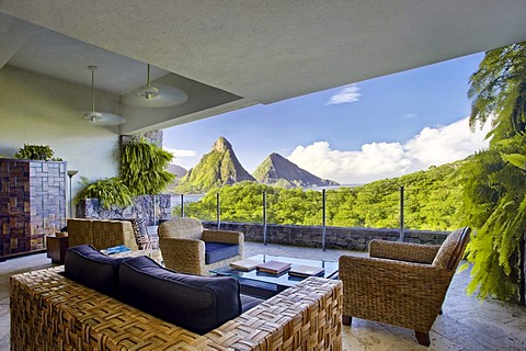 Suite, living room suite, no external wall, Pitons mountains, Jade Mountain luxury hotel, Saint Lucia, Windward Islands, Lesser Antilles, Caribbean, Caribbean Sea