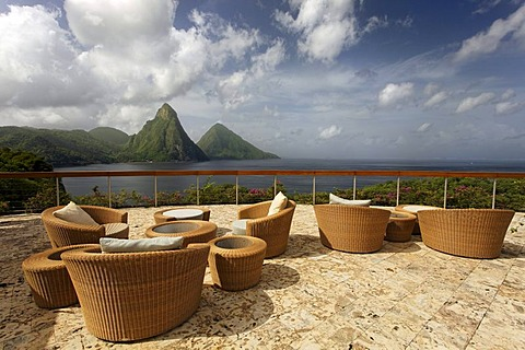 Roof terrace, Dedon, furniture, natural stone floor, hemisphere, Pitons mountains, Jade Mountain luxury hotel, Saint Lucia, Windward Islands, Lesser Antilles, Caribbean, Caribbean Sea