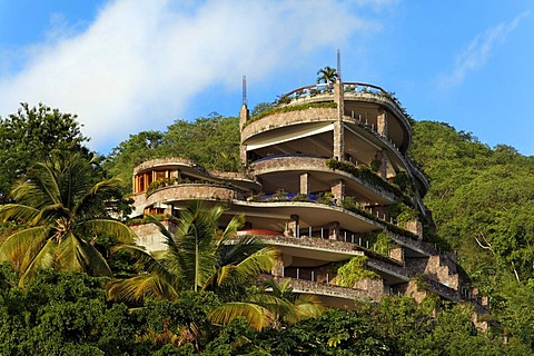 Jade Mountain luxury hotel, no external wall, rain forest, Saint Lucia, Windward Islands, Lesser Antilles, Caribbean, Caribbean Sea