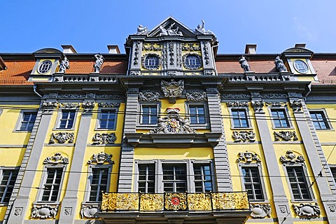 Baroque stucco facade of the Angermuseum, formerly Erfurt Weigh-house or kurmainzischer Packhof, Am Anger, Erfurt, Thuringia, Germany, Europe