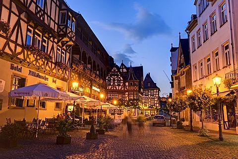 Alter Marktplatz, Old Market Square, Bacharach am Rhein, Rhineland-Palatinate, Germany, Europe