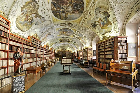 Very old books, library, hall of theology, Strahov Monastery, Hrad&any, Castle District, Prague, Czech Republic, Europe
