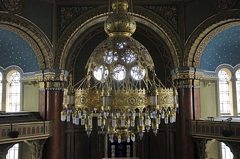 Interior view, chandelier, synagogue, Sofia, Bulgaria, Europe