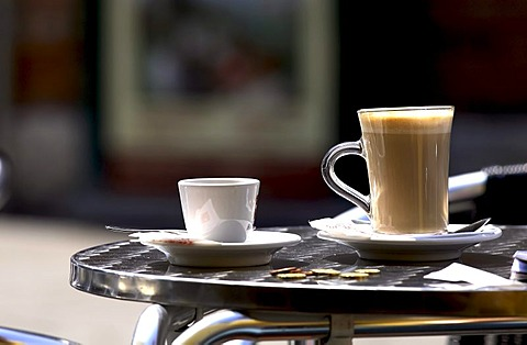 Espresso and Latte Macchiato table setting, Venice, Italy, Europe