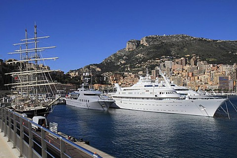 Windjammer Tenacious, motoryachts Skat, Atlantis II and Lady Moura at Port Hercule, Monaco, Cote d'Azur, Mediterranean, Europe