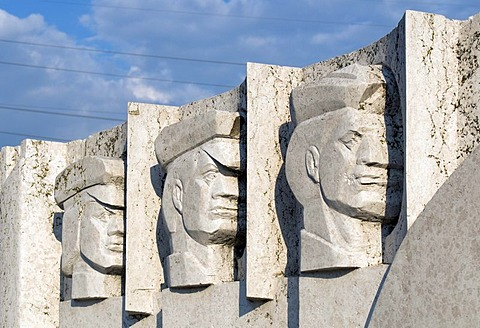 Detail of wall relief, white Heroes of Peoples' Power memorial, Statue Park, Memento Park, Szoborpark, Budapest, Hungary, Europe