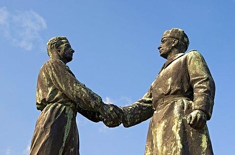 Handshake at Hungarian-Soviet Friendship Memorial by Zsigmond Kisfaludi Strobl, Statue Park, Memento Park, Szoborpark, Budapest, Hungary, Europe