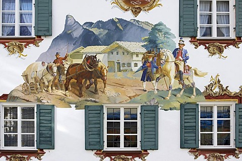 Mural painting in Oberammergau, Bavaria, Germany, Europe