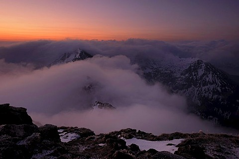 Mountain peaks with clouds during magic hour, at dawn, Graen, Tannheimertal valley, Ausserfern, Tyrol, Austria, Europe