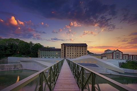 Metal bridge at dusk, Kempten, Bavaria, Germany, Europe