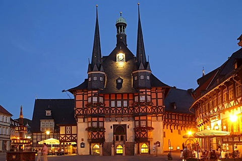 City Hall in the evening, Wernigerode, Harz, Germany, Europe