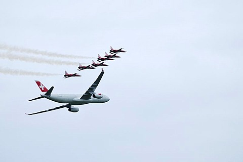Airbus A 330-300 of the Swiss flying with the Patrouille Suisse, Emmen, Switzerland, Europe