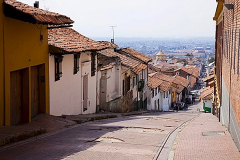 Sloping street, Bogota, Colombia, South America