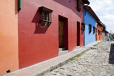 Brightly painted houses, Bogota, Colombia, South America