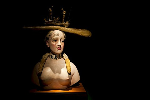 Bust, donated exhibition by the painter and sculptor Fernando Botero, Bogota, Colombia, South America