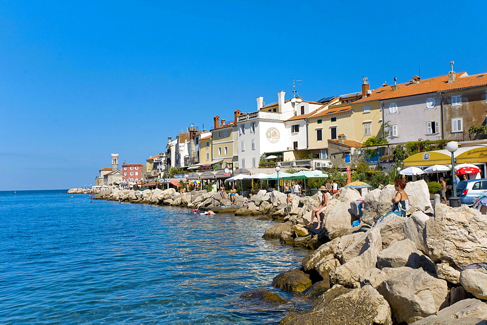 Waterfront, Piran, Primorska Region, Slovenia, Europe