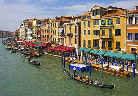 Canal Grande, Grand Canal from Rialto Bridge, Venice, Veneto, Italy, Europe