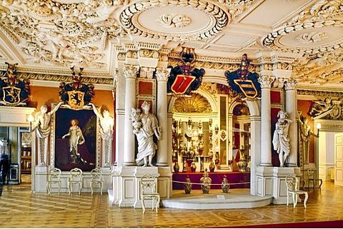 Throne room, Schloss Friedenstein castle, Gotha, Thueringen, Germany, Europe