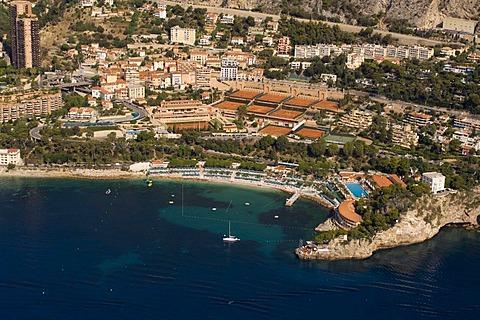 Aerial view, Monte Carlo Beach Club and Tennis Club, Monaco, Cote d'Azur, Europe
