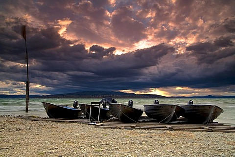Boats on the island of Reichenau during a storm, Lake Constance, Baden-Wuerttemberg, Germany, Europe