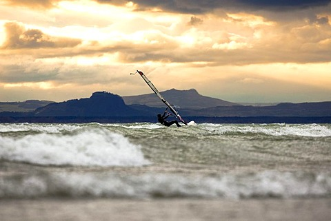 Windsurfer on Lake Constance during strong wind, seen from the island of Reichenau, Baden-Wuerttemberg, Germany, Europe