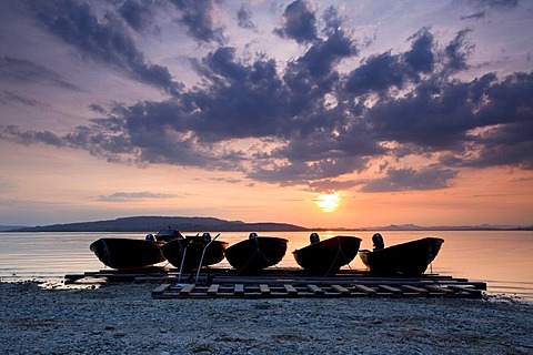 Boats in the evening light with sunset at Sandseele on Reichenau island, Baden-Wuerttemberg, Germany, Europe