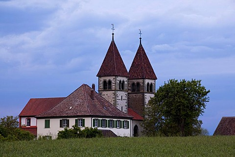 Church of St. Peter and Paul in the evening light, Reichenau island, Lake Constance, Black Forest, Baden-Wuerttemberg, Germany, Europe