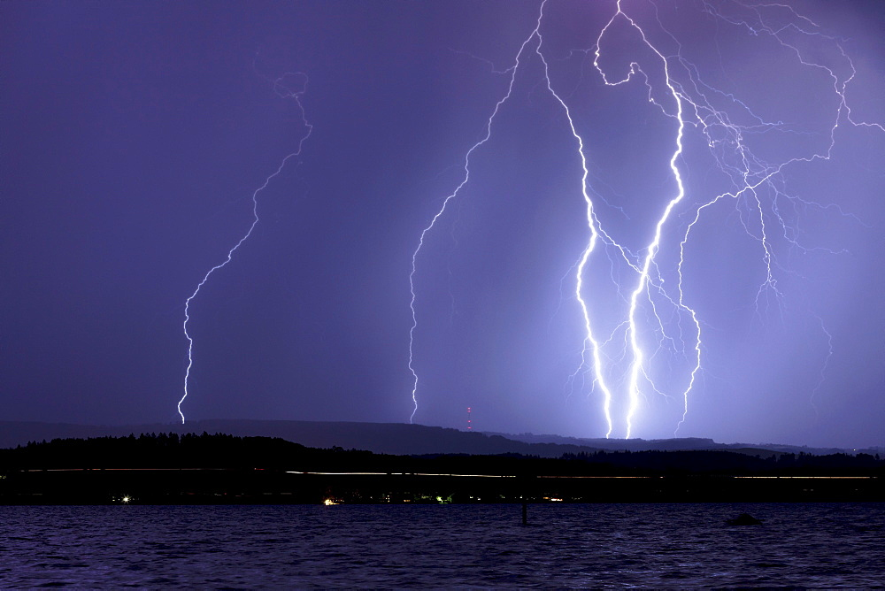 Thunderstorm and lightning at night on Lake Constance, Germany, Europe