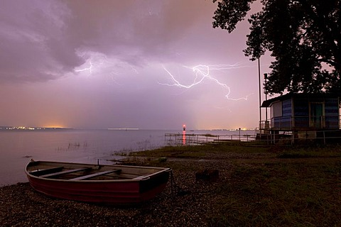 Thunderstorm on Lake Constance, lifeboat and rescue house in Constance, Baden-Wuerttemberg, Germany, Europe